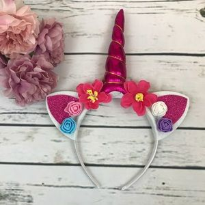 Other - Magical Hot Pink Unicorn Horn & Floral Headband
